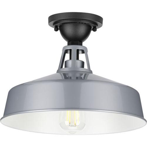 Cedar Springs Metallic Gray 13-Inch One-Light Outdoor Semi-Flush Mount with Metal Shade