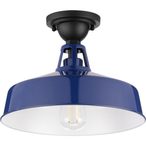 Cedar Springs Navy 13-Inch One-Light Outdoor Semi-Flush Mount with Metal Shade