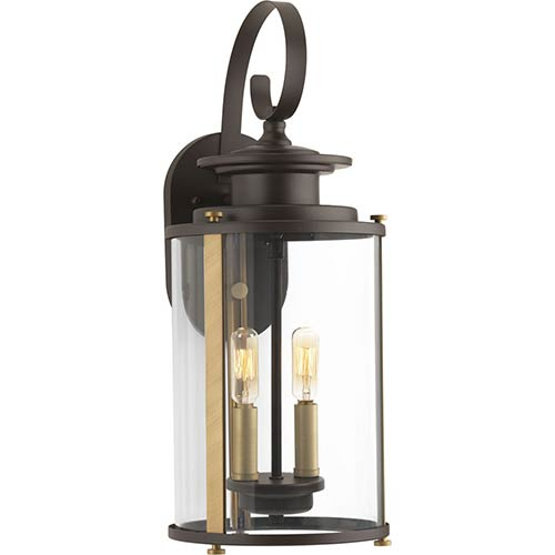 P560037-020: Squire Antique Bronze Two-Light Outdoor Wall Mount