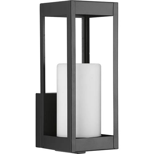 Progress Lighting P560039-031: Patewood Black One-Light Outdoor Wall Mount with Etched Opal Glass