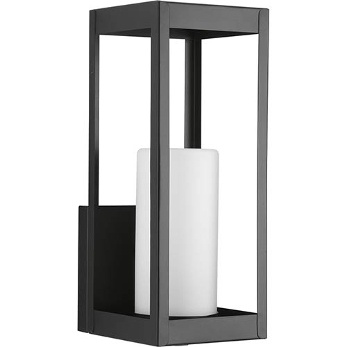 Progress Lighting P560040-031: Patewood Black One-Light Outdoor Wall Mount with Etched Opal Glass