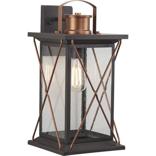 Barlowe Antique Bronze Nine-Inch One-Light Outdoor Wall Sconce with Clear Seeded Shade