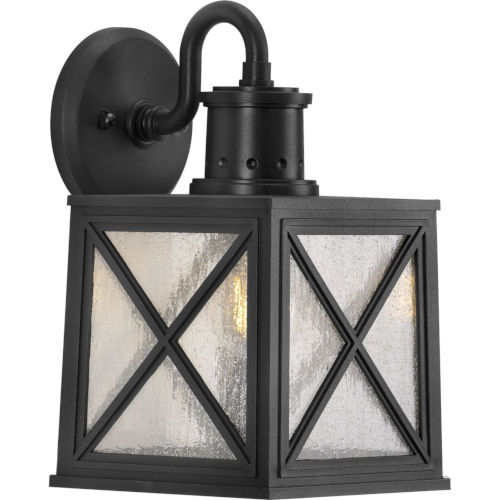 Seagrove Textured Black Eight-Inch One-Light Outdoor Wall Sconce with Clear Seeded Shade