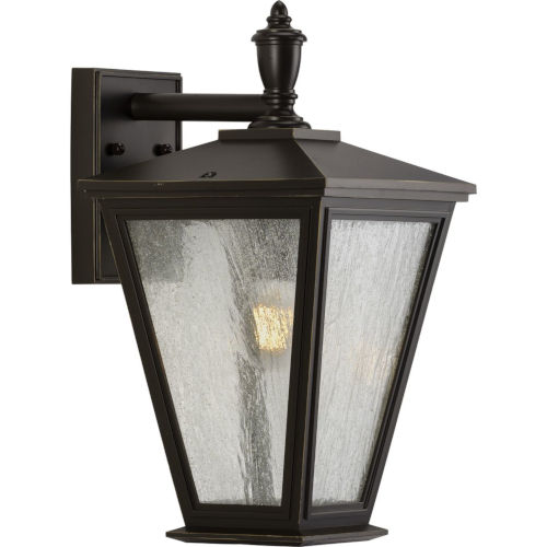 Cardiff Antique Bronze Nine-Inch One-Light Outdoor Wall Sconce with Clear Seeded Shade