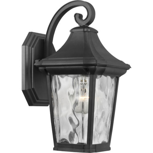 Marquette Textured Black Seven-Inch One-Light Outdoor Wall Sconce with Clear Water Shade