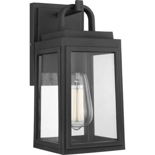 Grandbury Textured Black Six-Inch One-Light Outdoor Wall Sconce with Clear Shade