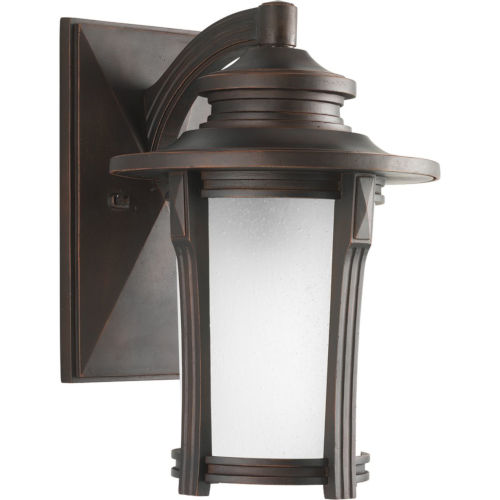 Pedigree Autumn Haze Nine-Inch One-Light Outdoor Wall Sconce with Etched Seeded Shade