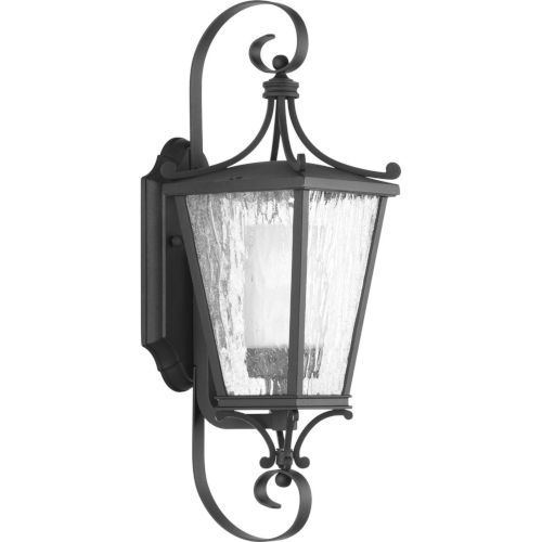 Cadence Textured Black Six-Inch One-Light Outdoor Wall Sconce with Clear Seeded Water Shade