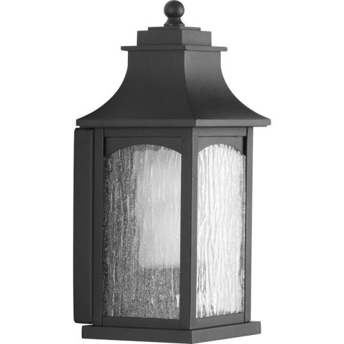 Maison Textured Black Six-Inch One-Light Outdoor Wall Sconce with Clear Water Seeded Shade