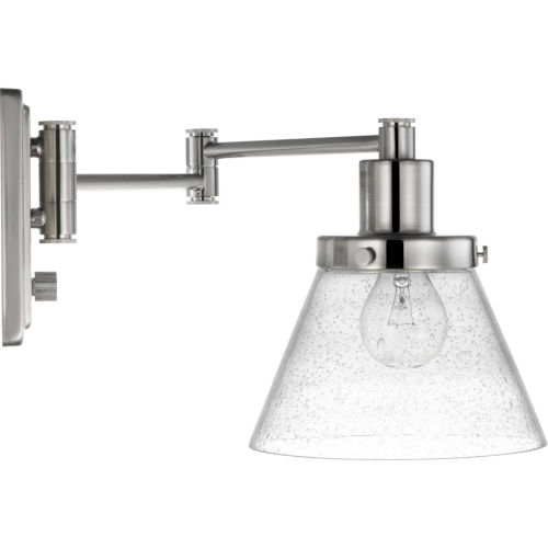 Hinton Brushed Nickel One-Light ADA Wall Sconce with Clear Seeded Glass
