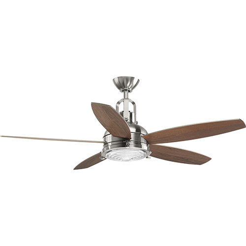 Progress Lighting P2568-0930K: Kudos Brushed Nickel 52-Inch LED Ceiling Fan