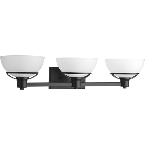 Progress Lighting P300034-031: Domain Black Three-Light Bath Vanity