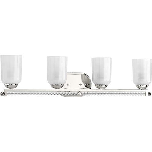 Progress Lighting P300103-104: Carlyn Polished Nickel Four-Light Bath Vanity