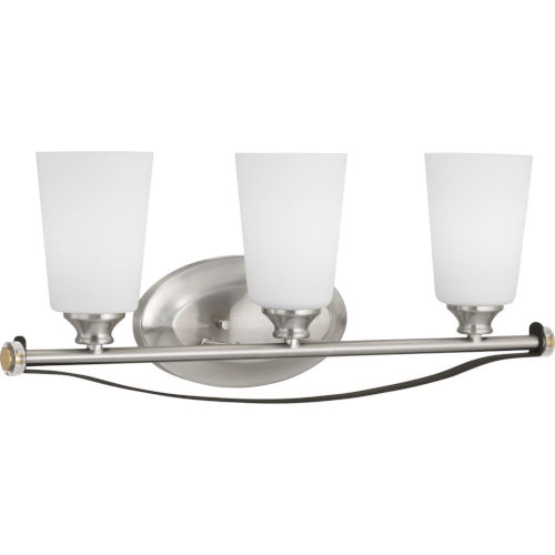 Nealy Brushed Nickel Three-Light Bath Fixture With Etched White Glass