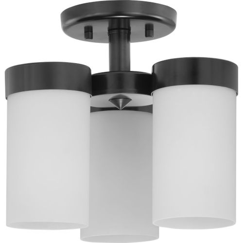 Elevate Black Three-Light Flush Mount With Etched White Glass