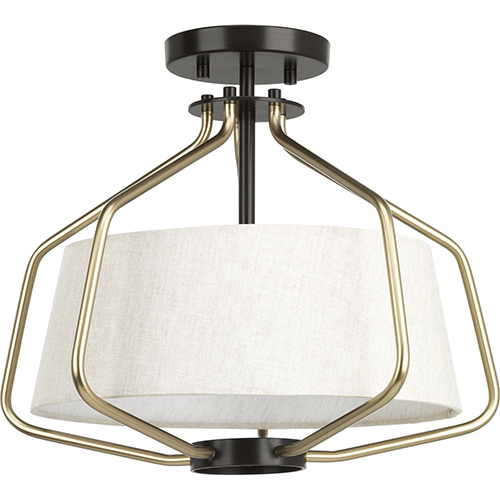 P350102-020: Hangar Antique Bronze and Natural Brass Two-Light Semi Flush Mount