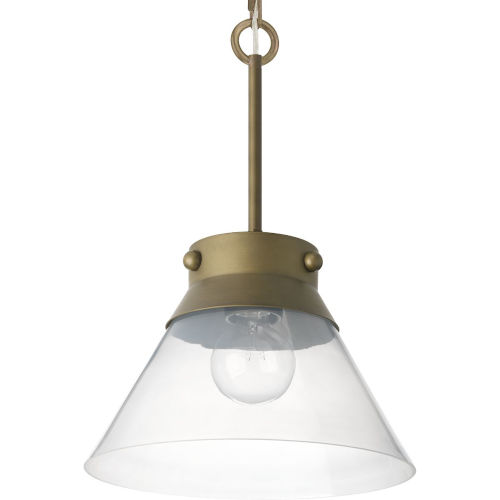 Aged Brass One-Light Semi-Flush