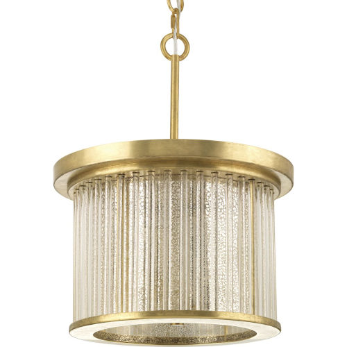 Brushed Brass Three-Light Semi-Flush Convertible