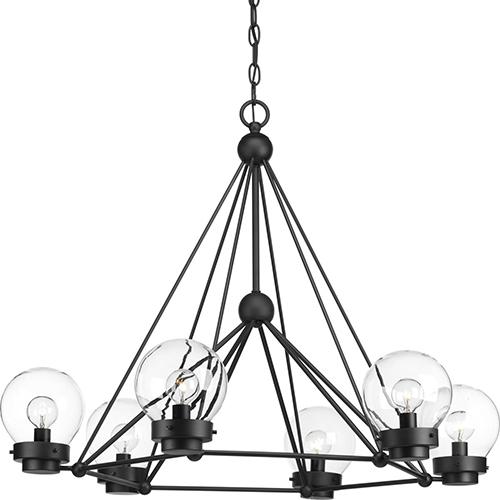 Progress Lighting P400084-031: Spatial Black Six-Light Chandelier