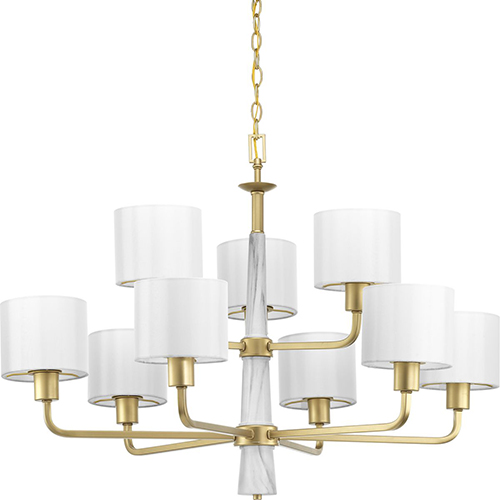 Progress Lighting P400099-078: Palacio Vintage Gold Nine-Light Chandelier