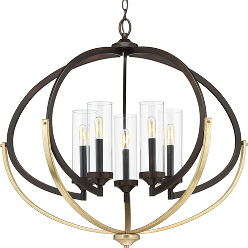 Progress Lighting P400117-020: Evoke Antique Bronze and Gold Five-Light Chandelier