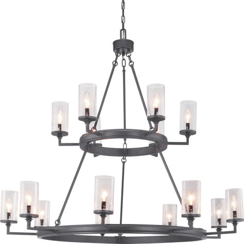 Gresham Graphite 15-Light Chandelier With Transparent Seeded Glass