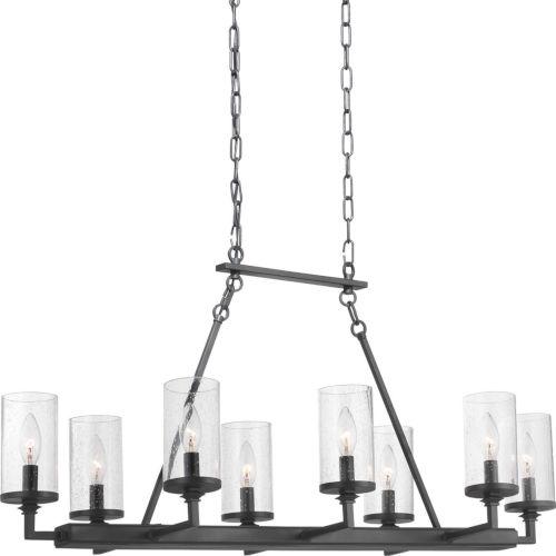 Gresham Graphite Eight-Light Chandelier With Transparent Seeded Glass