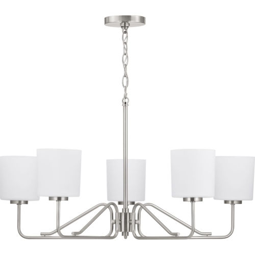 Tobin Brushed Nickel Five-Light Chandelier With Etched White Glass