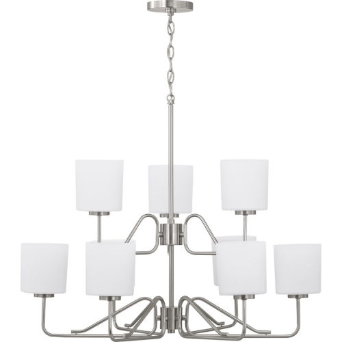 Tobin Brushed Nickel Nine-Light Chandelier With Etched White Glass