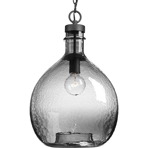 Progress Lighting P500064-143: Zin Graphite One-Light Pendant with Smoked Textured Glass