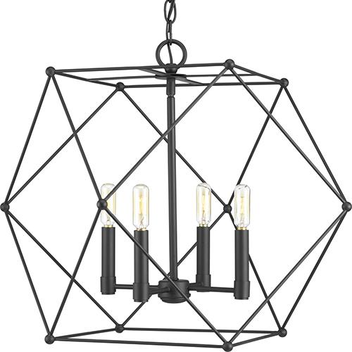 P500083-031: Spatial Black Four-Light Pendant