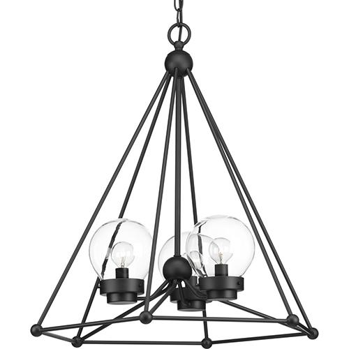 Progress Lighting P500096-031: Spatial Black Three-Light Pendant