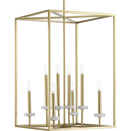 Progress Lighting P500106-078: Palacio Vintage Gold Eight-Light Pendant
