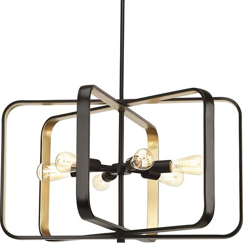 P500112-020: Centre Antique Bronze and Gold Six-Light Pendant