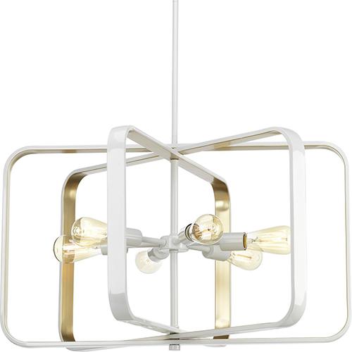P500112-030: Centre White and Gold Six-Light Pendant