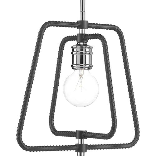 Progress Lighting P500119-015: Re-Bar Polished Chrome One-Light Pendant