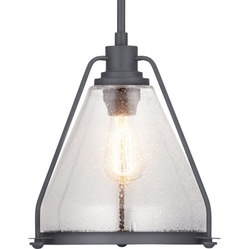 Graphite One-Light Pendant With Transparent Seeded Glass