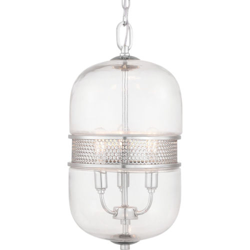 Cayce Polished Chrome Three-Light Mini-Pendant With Transparent Glass