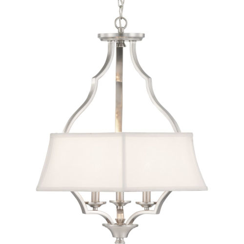 Brushed Nickel Three-Light Pendant With Linen Shade