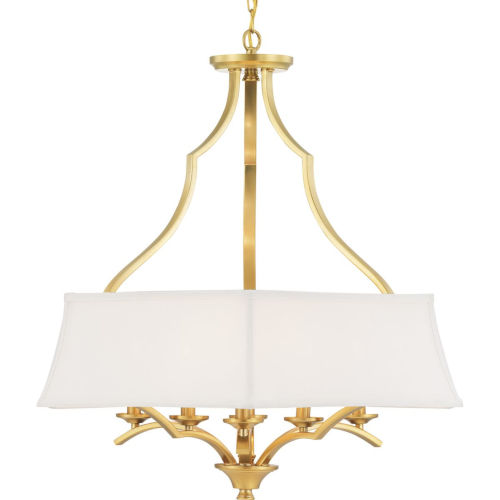 Brushed Bronze Six-Light Pendant With Linen Shade