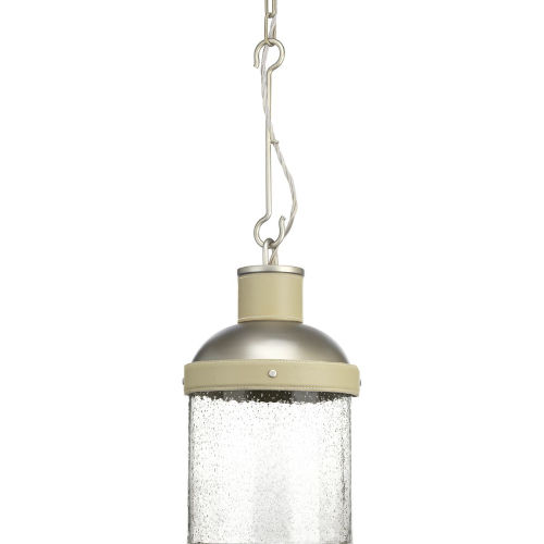Rockdance Antique Nickel One-Light Mini-Pendant With Transparent Seeded Glass
