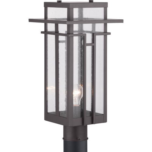 Antique Bronze One-Light Outdoor Post Lantern With Transparent Seeded Glass