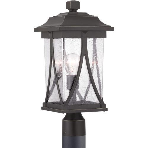 Abbott Antique Bronze One-Light Outdoor Post Lantern With Transparent Seeded Glass