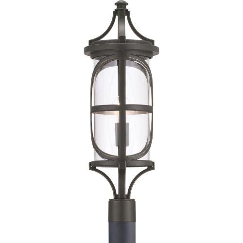 Morrison Antique Bronze One-Light Outdoor Post Lantern With Transparent Glass