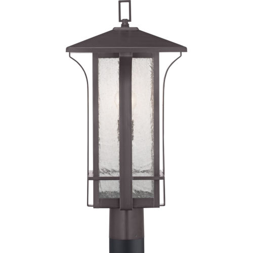Cullman Antique Bronze One-Light Outdoor Post Lantern With Transparent Seeded Glass