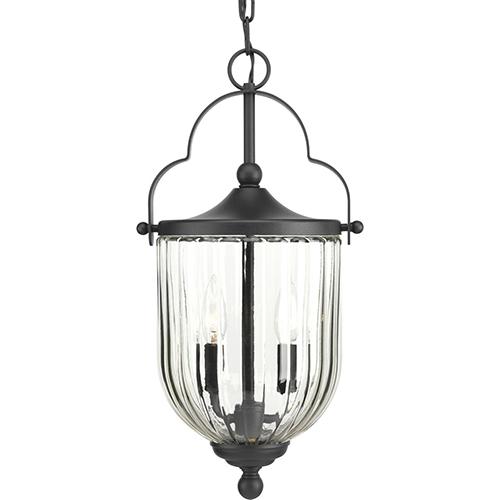 Progress Lighting P550023-031: McPherson Black Three-Light Outdoor Pendant