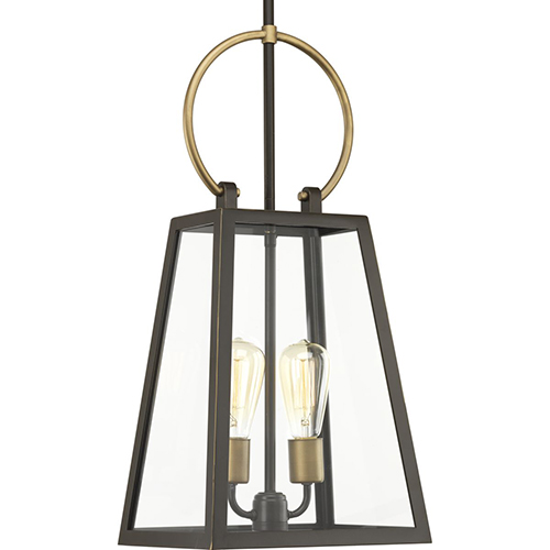 P550028-020: Barnett Antique Bronze and Brass Two-Light Outdoor Pendant