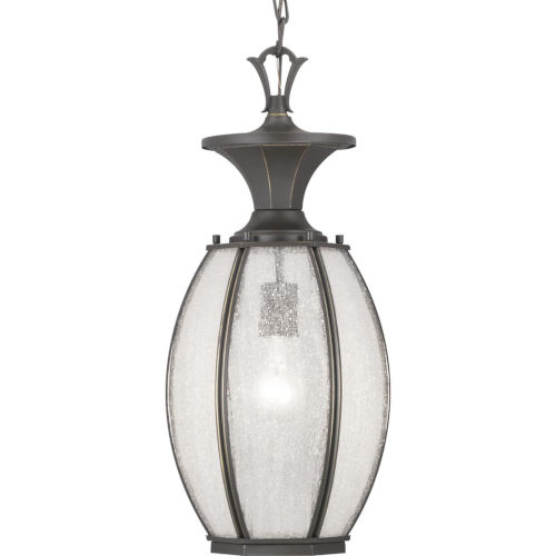 Antique Bronze 9-Inch One-Light Outdoor Hanging Lantern With Transparent Seeded Glass