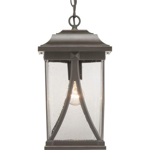 Abbott Antique Bronze One-Light Outdoor Hanging Lantern With Transparent Seeded Glass