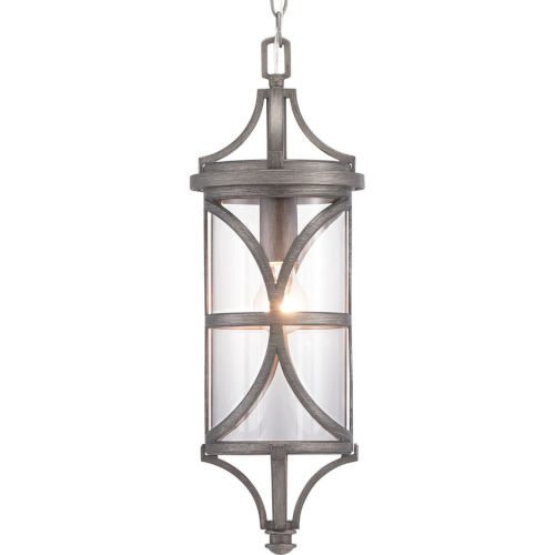 Morrison Antique Pewter One-Light Outdoor Hanging Lantern With Transparent Glass
